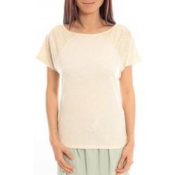 Textiel Dames T-shirts korte mouwen Blune T-Shirt Pointilleuse PO-TF02E13 Écru Beige