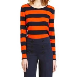 Textiel Dames T-shirts met lange mouwen Petit Bateau Tee Shirt ML 112175921 Orange/Bleu Oranje