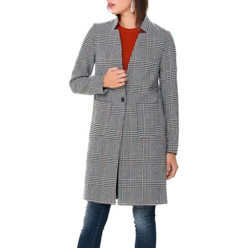 Textiel Mantel jassen Only onlHELEN CHECK WOOL COAT Gris