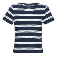 Textiel Dames T-shirts korte mouwen Superdry COTE STRIPE TEXT TEE Marine