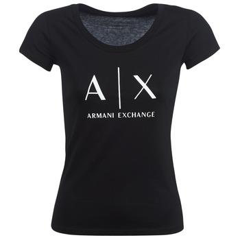 Textiel Dames T-shirts korte mouwen Armani Exchange HELBATANTE Zwart