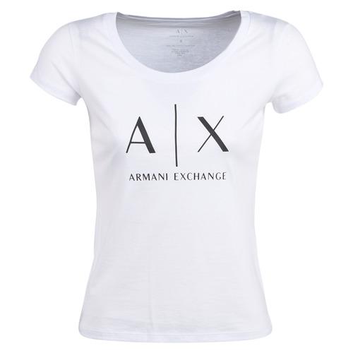 Textiel Dames T-shirts korte mouwen Armani Exchange HELIAK Wit