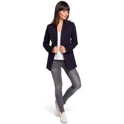 Textiel Dames Jasjes / Blazers Be B102 open blazer van katoen-blend - marineblauw