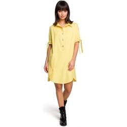 Textiel Dames Korte jurken Be B112 Tuniek met kraag en aangeknoopte mouwen - geel