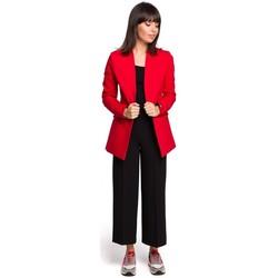 Textiel Dames Tops / Blousjes Be B102 open blazer van katoen-blend - rood