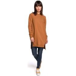 Textiel Dames Jurken Be B101 Oversized tuniek met split aan de zijkanten - karamel
