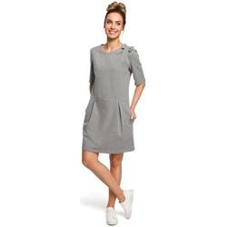 Textiel Dames Jurken Moe M422 Drop waist jurk met strik - grijs