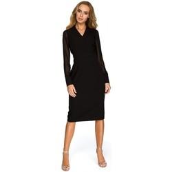 Textiel Dames Tunieken Style S136 Chiffon mouwloze schede jurk - zwart