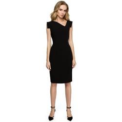 Textiel Dames Rokken Style S121 Kokerjurk met een asymmetrische halslijn - zwart