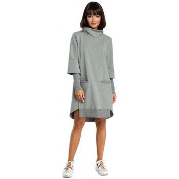 Textiel Dames Jurken Be B089 Asymmetrische jurk met rolkraag - grijs