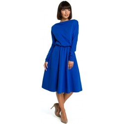 Textiel Dames Korte jurken Be B087 Midi-jurk met wijd uitlopende mouwen - koningsblauw