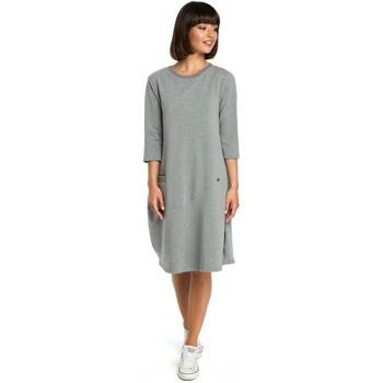 Textiel Dames Korte jurken Be B083 Oversized jurk met een zakje voor - grijs