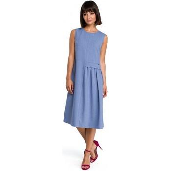 Textiel Dames Korte jurken Be B080 Luchtige mouwloze midi-jurk - blauw