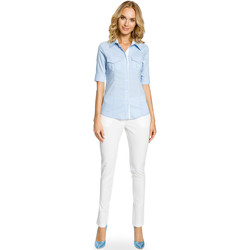 Textiel Dames Overhemden Moe M321 Uitlopende midirok met zakken - grijs