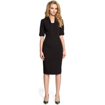 Textiel Dames Tops / Blousjes Moe M310 Sjaalkraag jurk - zwart
