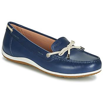 Schoenen Dames Mocassins Geox D VEGA MOC Blauw / Nude