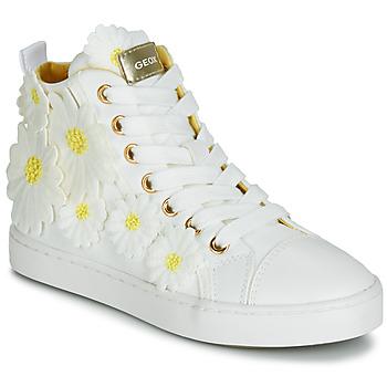 Schoenen Meisjes Hoge sneakers Geox JR CIAK GIRL Wit / Fleur / Geel