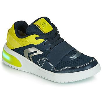 Schoenen Jongens Lage sneakers Geox J XLED BOY Blauw / Geel / Led