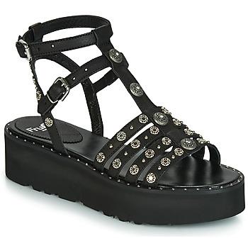 Schoenen Dames Sandalen / Open schoenen Fru.it 5433-476 Zwart / Spijker