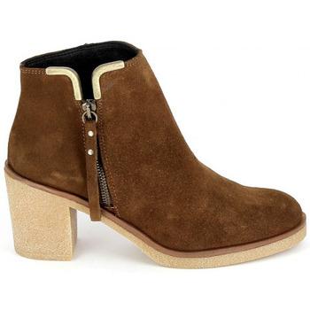 Schoenen Dames Enkellaarzen Porronet Boots 4032 Marron Bruin