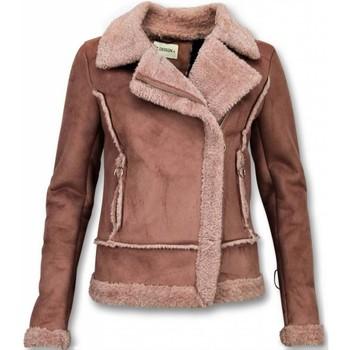 Textiel Dames Jasjes / Blazers Z-Design Bikerjack Dames - Lammy Coat Dames - Suede Jas 13