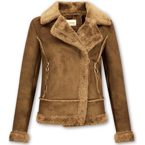 Textiel Dames Wind jackets Z Design Bikerjack Suede Lammy Coat Bruin