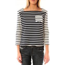Textiel Dames T-shirts met lange mouwen Petit Bateau Marinière 3434049220 Bleu/Blanc Blauw