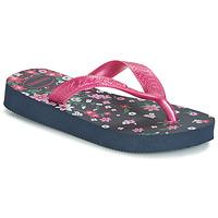 Schoenen Meisjes Teenslippers Havaianas KIDS FLORES Marine / Roze
