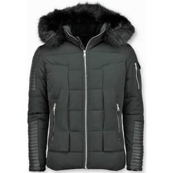 Textiel Heren Dons gevoerde jassen Enos Korte Winterjas Faux Fur Bontkraag Zwart