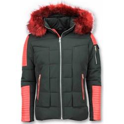 Textiel Heren Dons gevoerde jassen Enos Rode Bontjas - Zwarte Winterjas - Winterjas Heren - Nep Bontjas 38