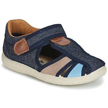 Schoenen Jongens Sandalen / Open schoenen Citrouille et Compagnie JOLIETTE Jeans / Blauw / Beige