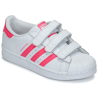 Schoenen Meisjes Lage sneakers adidas Originals SUPERSTAR FOUNDATIO Wit / Roze
