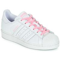 Schoenen Meisjes Lage sneakers adidas Originals SUPERSTAR J Wit / Roze