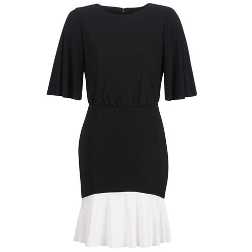 Textiel Dames Korte jurken Lauren Ralph Lauren ELBOW SLEEVE DAY DRESS Zwart / Wit