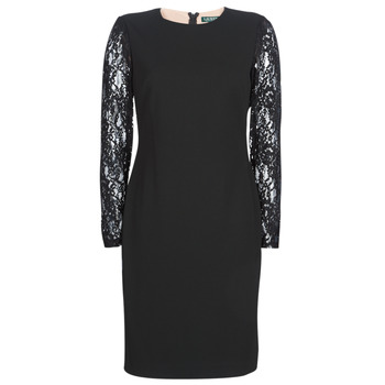 Textiel Dames Korte jurken Lauren Ralph Lauren LACE PANEL JERSEY DRESS Zwart