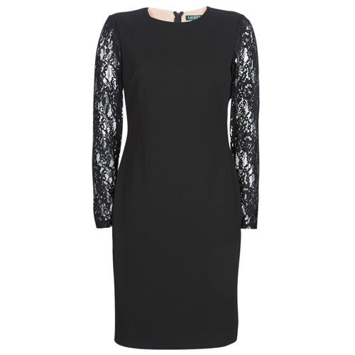 544ccec6945824 Textiel Dames Korte jurken Lauren Ralph Lauren LACE PANEL JERSEY DRESS Zwart