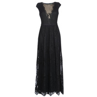 Textiel Dames Lange jurken Lauren Ralph Lauren CAP SLEEVE LACE EVENING DRESS Zwart