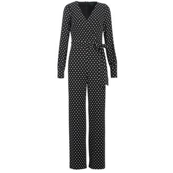 Textiel Dames Jumpsuites / Tuinbroeken Lauren Ralph Lauren POLKA DOT WIDE LEG JUMPSUIT Zwart / Wit