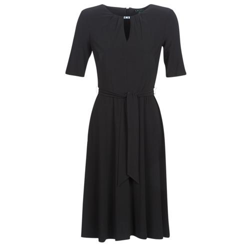 Textiel Dames Korte jurken Lauren Ralph Lauren 3/4 SLEEVE  JERSEY DAY DRESS Zwart