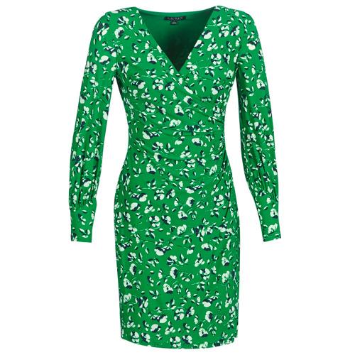 Textiel Dames Korte jurken Lauren Ralph Lauren FLORAL PRINT-LONG SLEEVE-JERSEY DAY DRESS Groen