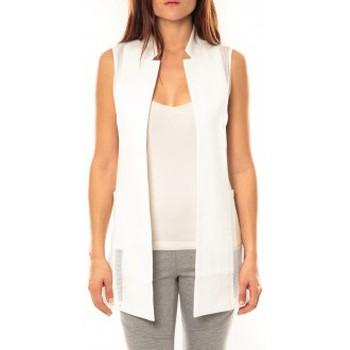 Textiel Dames Vesten / Cardigans Vera & Lucy Gilet Lucce LC-7012 Blanc Wit