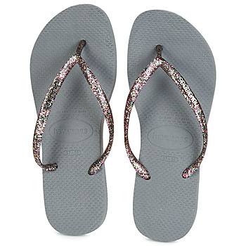 Schoenen Dames Teenslippers Havaianas SLIM LOGO METALLIC Grijs