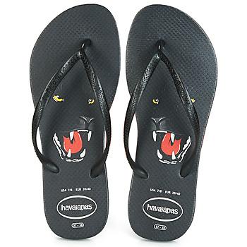 Schoenen Dames Teenslippers Havaianas SLIM ANIMAL PRINT Zwart