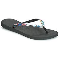 Schoenen Dames Teenslippers Havaianas SLIM STRAPPED Zwart