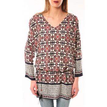 Textiel Dames T-shirts met lange mouwen De Fil En Aiguille Robe Noémie & Co E1403-37 Noir/Rouge Zwart