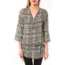 Textiel Dames Jurken De Fil En Aiguille Robe Noémie & Co E1485-13 Noir/Blanc Zwart