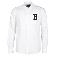 Textiel Heren Overhemden lange mouwen Scotch & Soda REGULAR FIT AMS BLAUW OXFORD SHIRT WITH BADGE Wit