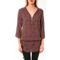 Textiel Dames T-shirts met lange mouwen De Fil En Aiguille Robe Noémie & Co E1485-37 Rose/Noir Roze