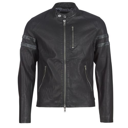 Textiel Heren Leren jas / kunstleren jas Guess COOL BIKER Zwart
