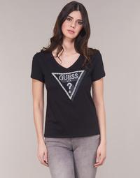 Textiel Dames T-shirts korte mouwen Guess CN PEARL Zwart
